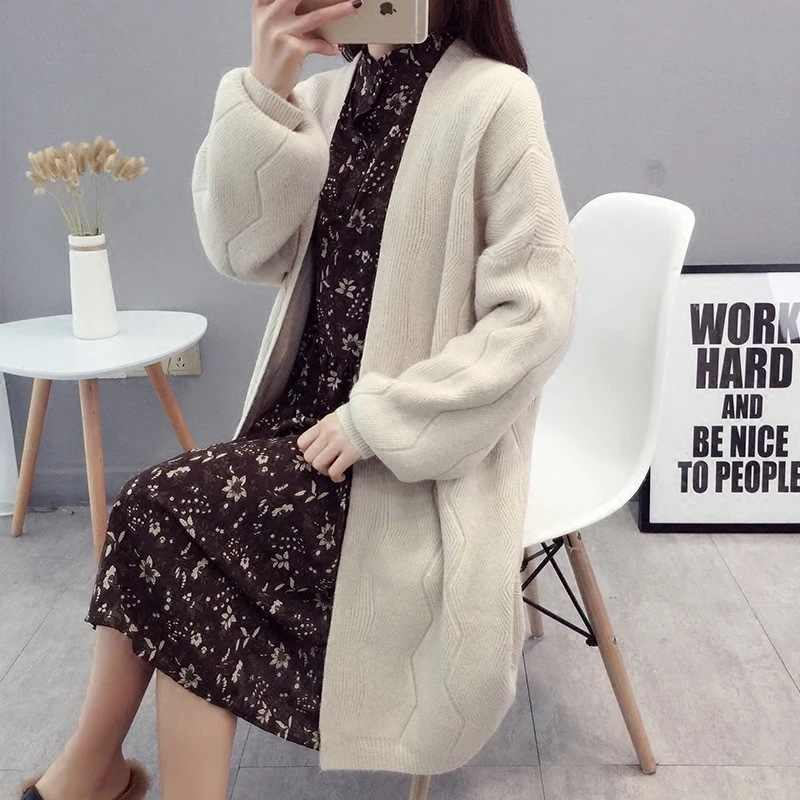 sweater han edition 2019 new female long during the spring and autumn thickening with a relaxed joker knitted cardigan