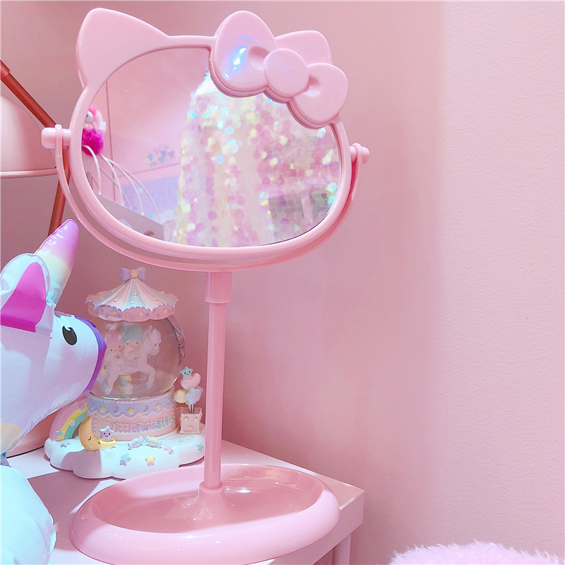 1pc Cute New Pink Cartoon Mirror Cartoon Make Up Desk Mirror For Girls