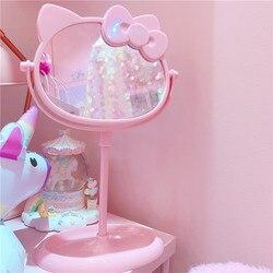 1pc bonito novo rosa dos desenhos animados espelho compõem espelho de mesa para meninas