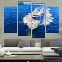 White Yacht In Ocean 4 Pieces Sets Canvas Art Canvas Paintings 4 Panels Decoration For Home