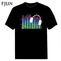 FJUN Attivata Suono LED T Shirt Light Up and down Lampeggiante compensatore di EL T-Shirt Da Uomo dj Music manica corta o collo nero top