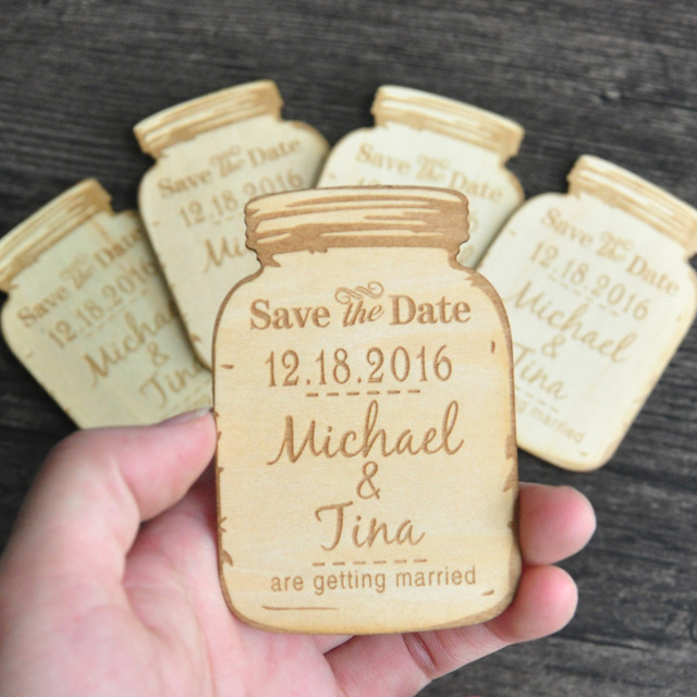 Custom Wooden Save The Date Magnets Engraved Rustic Wedding Dates