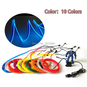 EL Wire lights 6mm Sewing Edge Neon Light Dance Party Car Decor Light Neon Flexible EL Wire Rope Tube LED Strip With 5V USB Plug top selling el cable rope explorer design clothes led strip neon light stylish luminous costume for carnival new years day decor