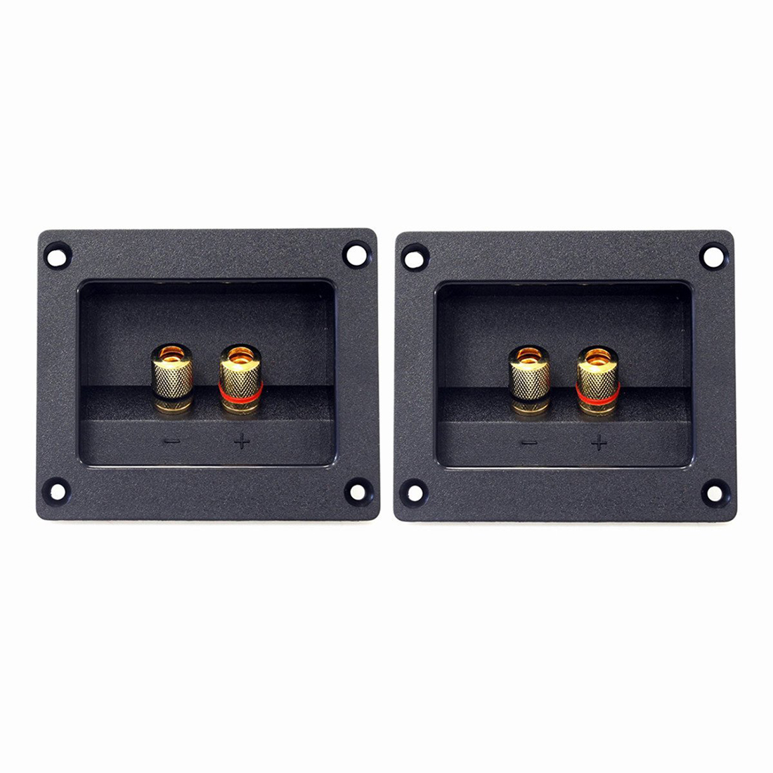 THGS 2pcs DIY Home Car Stereo 2-way Speaker Box Terminal Round Square Spring Cup Connector Binding Post Banana jack and plugs