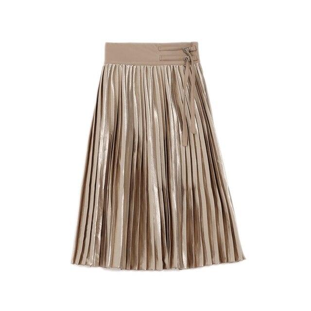 2016 осень и зима новая мода простой ПУ кожа шить высокой талии женщины плиссированные юбки