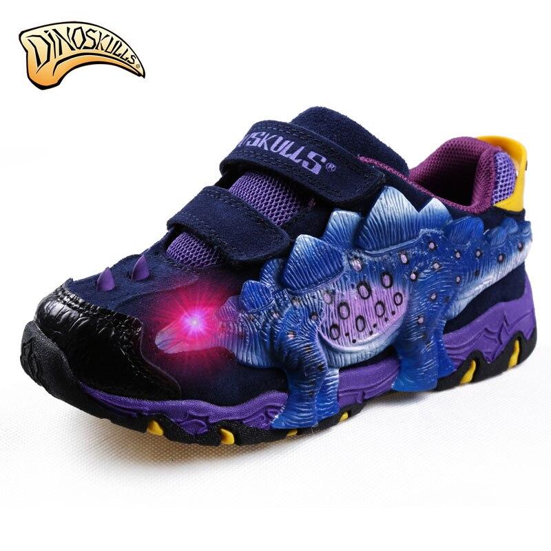 Dinoskulls Coréenne Enfants Chaussures Sneakers 2017 Lumières Led En Cuir Respirant 3D Garçons Dinosaure Chaussures Tenis Courir Sport Chaussures 27-34