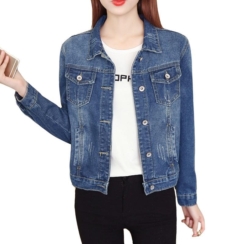 Large Size Women   Basic     Jackets   4Xl 5Xl 2019 Autumn New Short Denim   Jackets   Long Sleeve Casual Jeans Blue Coat Outwear Top R112