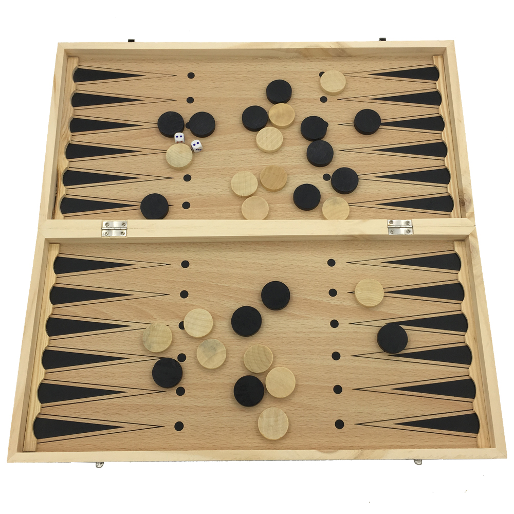 Large Chess Set Chess & Checkers & Backgammon 3 in 1 Games For Children Wooden Made No Magnetic Board Size 43.5 cm x 43.5 cm no–talk therapy for children