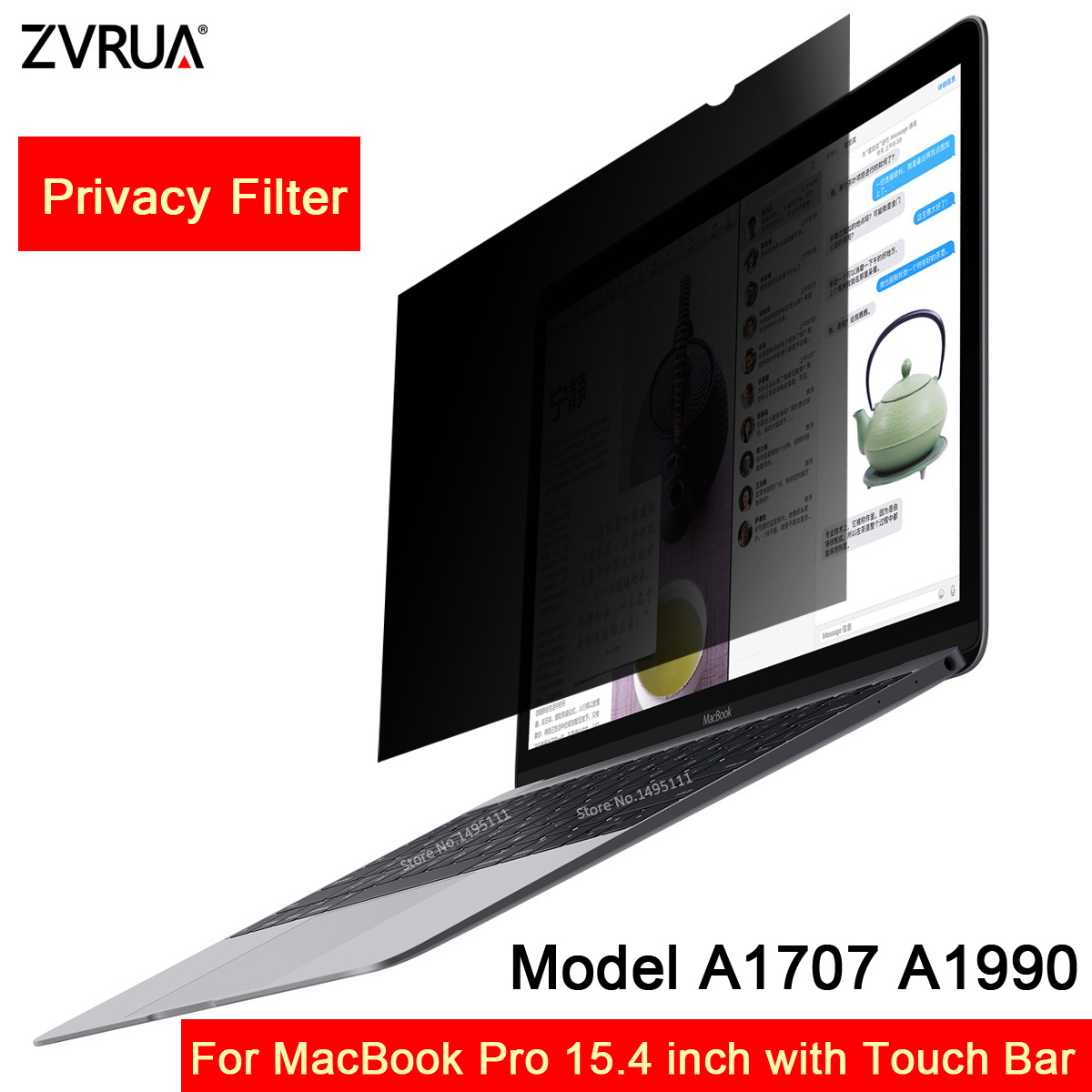 For 2016/2017/2018 MacBook Pro 15.4 inch with Touch Bar Model A1707 <font><b>A1990</b></font>, Privacy Filter <font><b>Screens</b></font> Protective film (342mm*223mm) image
