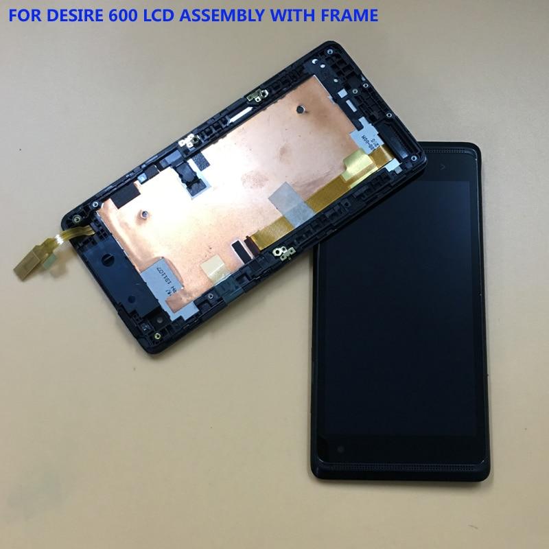 100% Test Noir Pour HTC Desire 600 Plein Écran Tactile Digitizer Panneau Verre Capteur + LCD Affichage Moniteur Module Assemblée cadre