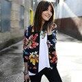 Прочный Моды jaqueta feminina Женщины С Длинным Рукавом Печатных Молния Пиджак Пальто И Пиджаки