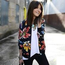 Durable Fashion jaqueta feminina  Women Long Sleeve Printed Zipper  Suit Jacket Coat Outwear