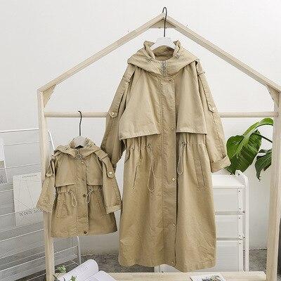 Printemps automne famille correspondant tenues mère fille correspondant vêtements Zipper famille vêtements bouton maman et fille vêtements d'extérieur