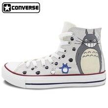 Mi Vecino Totoro Converse All Star de Alta Superior Zapatos de Anime Cosplay Mujeres de Los Hombres Pintados A Mano Zapatillas de Deporte Zapatos de Skate Único