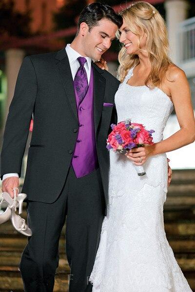 Purple Vest Tie Handkerchief Notch Lapel Black Two Buttons Formal Wedding Men Suits Latest Designer Suits High Quality Bespoke
