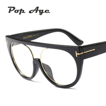 Pop Age 2018 New High quality Oversized Cat Eye glasses Women Men Brand Designer Round Eyeglasses Luxury Plain Lunettes