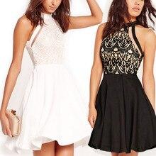 Vestidos de renda verano mujeres del banquete de boda elegante bata sexy club skater dress casual boho encaje mini vestidos cortos negro blanco