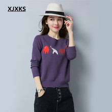 XJXKS Elephant Mini Pattern Lovely Women Casual Ladies Sweaters M-XL Round Neck Full Sleeve 2017 New Selling Knit Sweater