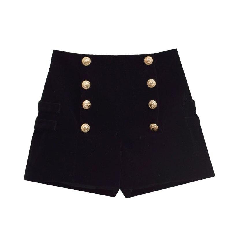 Black Velvet Shorts Women Double-breasted Casual High Waist A-Line Wide Leg Black Shorts Female Autumn