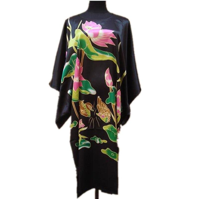 Black Ladies Robe Summer Casual Pajamas Chinese Women Rayon Sleepwear Kimono Bath Gown Nightgown Kaftan Yukata One Size M03