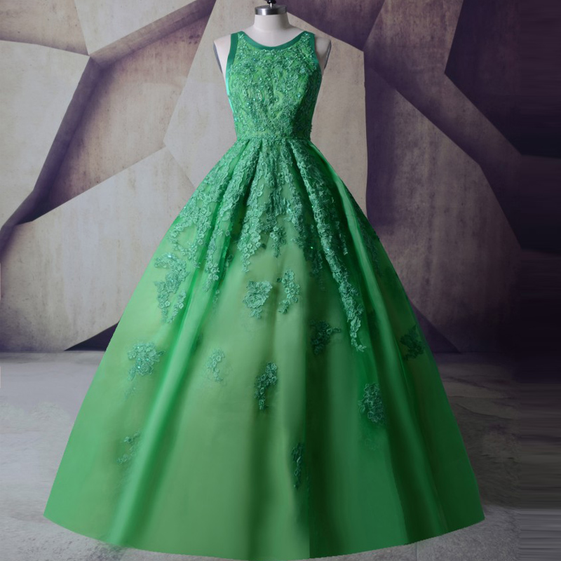 LORIE Emerald Green   Evening     Dress   Open Back Vintage Lace Appliques Beaded Prom Gowns 2019 Spaghetti Straps Formal Women   Dresses