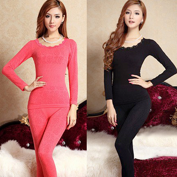 Drop Ship Beauty Body Winter Modal Thin Long Johns Shaper Women Thermal Underwear Pajama Set Top+ Pant Sleepwear