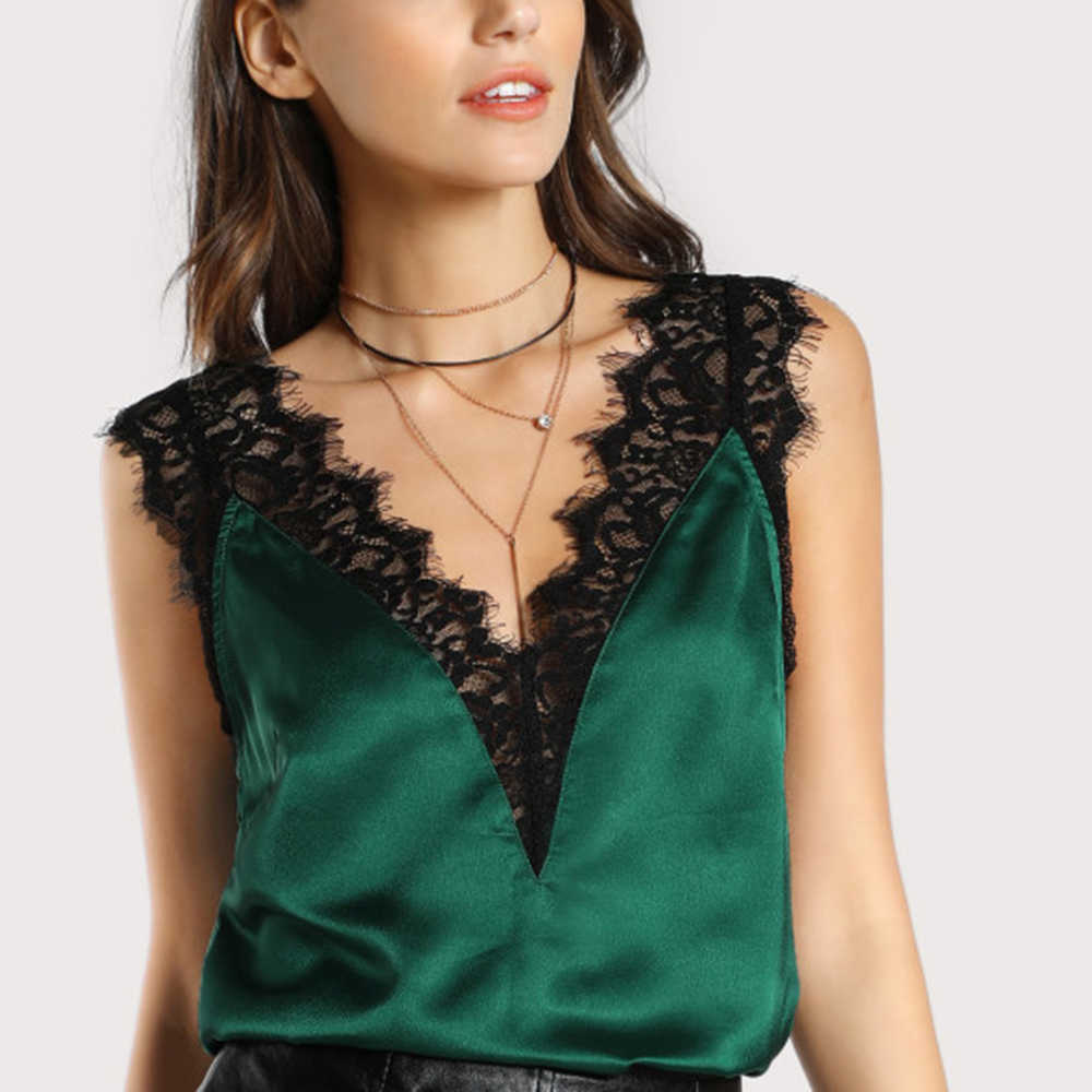 1 pcs Women Sexy Elegant Double Lace Patchwork V Neck Trim Sleeveless Silk Satin Tank Tops Green New Summer