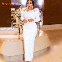Elegant long white bandage dress long sleeve feather beaded sexy strapless dress celebrity runway party dress Bodycon Vestidos