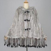 PROMOTION ON SALE  knitted Rabbit Fur Shawl wrap  Women Hot Style Wholesale Natural Rabbit Fur Poncho  raccoon  dog fur pashmina