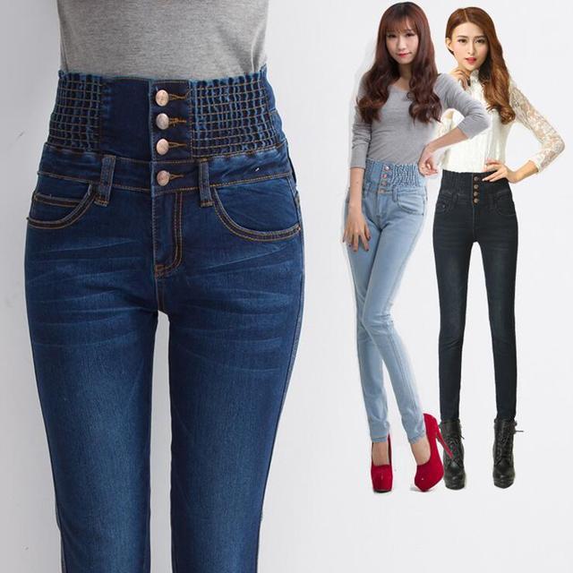 Novo Jeans De Cintura Alta Magro Moda Plus Size Jeans Mulher Denim Calças Lápis Longos