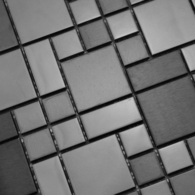 stainless steel tile backsplash silver metallic mosaics ...