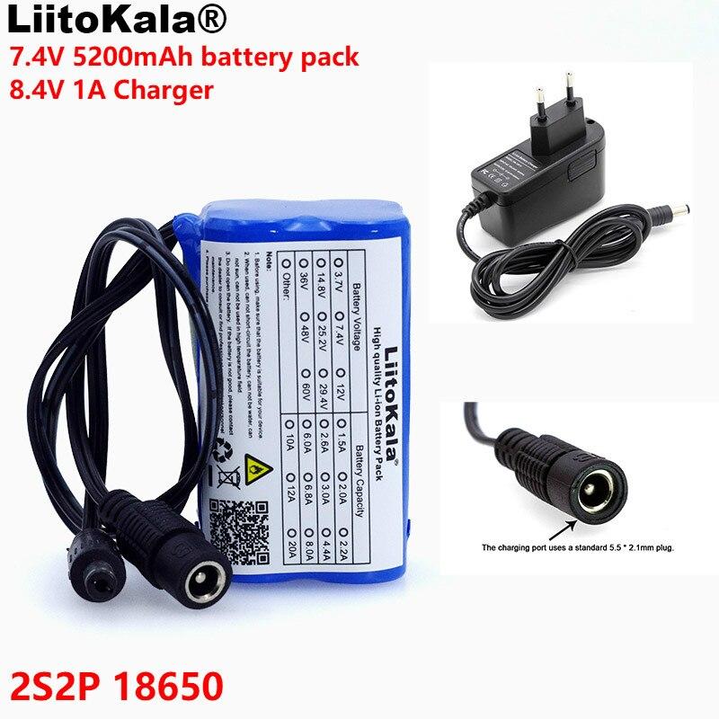LiitoKala Proteggere 7.4 v 5200 mah 8.4 v 18650 Li-lon Batteria luci della bici Testa della lampada speciale batteria DC 5.5*2.1mm + 1A Caricatore
