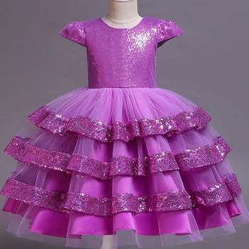 8f87a0261 Pegeant lentejuelas espalda descubierta niños vestidos para niñas boda  fiesta princesa vestidos bebé niñas Primera Comunión capas tutú vestidos