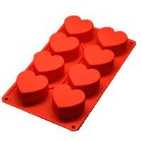 1 Adet Kek Aracı Silikon Kalıp Kalp Shape Kek Kalıp 8 Kavite pişirme Kalıp 288*168*35mm/11.3 1.4 inç tarafından 6.6 tarafından