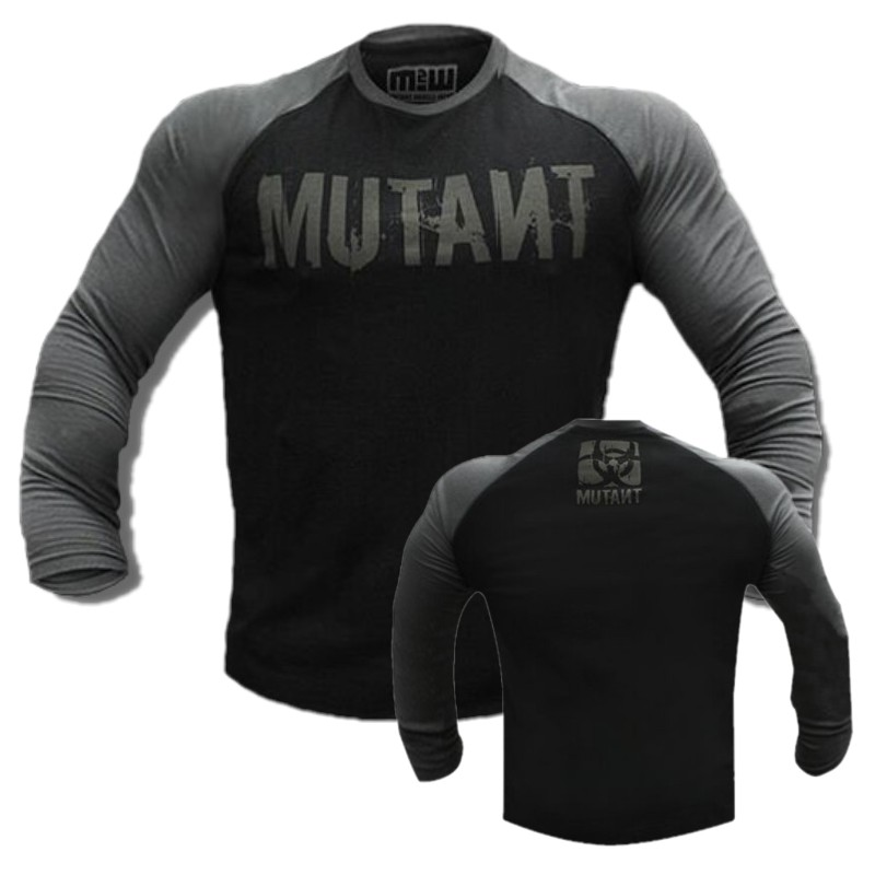 Men   T     Shirt   Long Sleeve Patchwork O Neck   T  -  shirt   Mutant 100% Cotton Tees Tops Mens Fitness Brand Tshirt Men Gyms Clothing