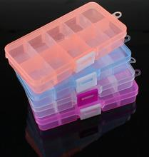 New 10 Slots Cells Colorful Portable Jewelry Tool Storage Box Container Ring Electronic Parts Screw Beads Organizer Plastic Case