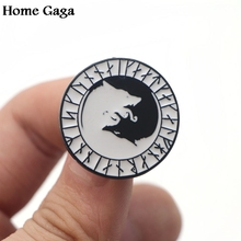 Homegaga Vikings Wolf head Zinc pins para backpack clothes medal for bag shirt hat insignia badges brooches men women D1658