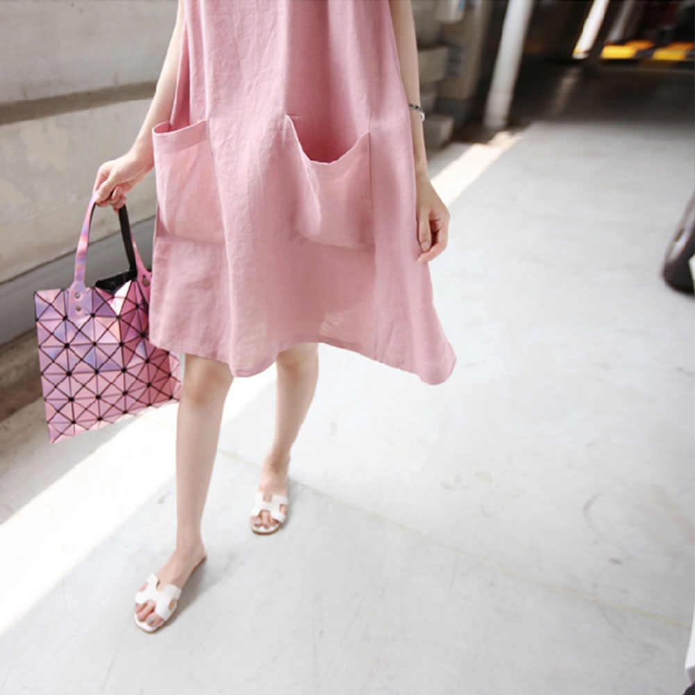 c12ddc8608f5c Plus Size Simple Loose Dress Cotton Linen Maxi Summer Dress Sleeveless  Dress Pockets O Neck Solid Dress Female Black Pink