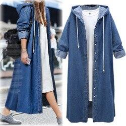 2018 jesień nowy europejski duży rozmiar przycisk sweter z kapturem Denim Sukienka kurtka kobiet długi wiatrówka na co dzień ulica Sukienka 2