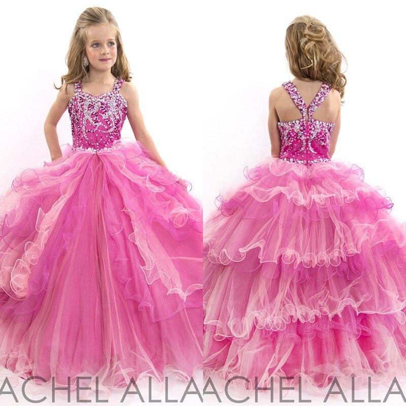 ffa5fd75ffd 2016 Stunning Pink and Fuchsia Ball Gown Layered Tulle Crystal Girls  Pageant Dress Flower Girls Dress Girls Prom Dress EM03373
