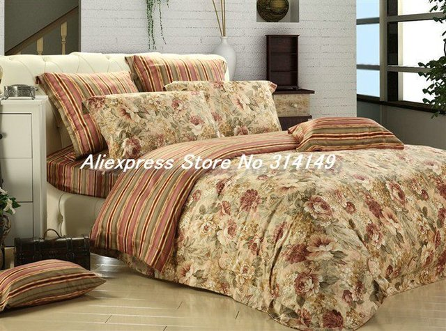 Rich and Honour Life Floral Pattern and Stripe 4Pcs100% Staple Cotton Duvet King Size in a Bag Cover Bedding Sets