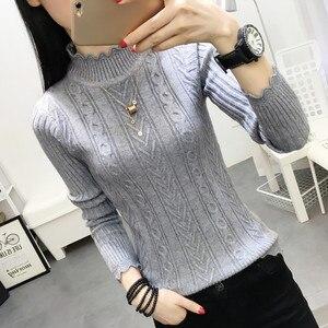 Image 4 - Koreanischen winter pullover weibliche hälfte rollkragen hülse kopf bodenbildung Shirt Kurzen schlanken schlank knit verdickte feste twist