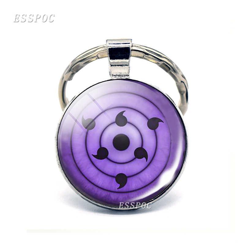 Thời trang Rinnegan Mắt Anime Naruto Sharingan Mắt Huy Hiệu Phim Hoạt Hình Keychain Bạc Glass Cabochon Dome Đồ Trang Sức Keyring Cosplay Quà Tặng
