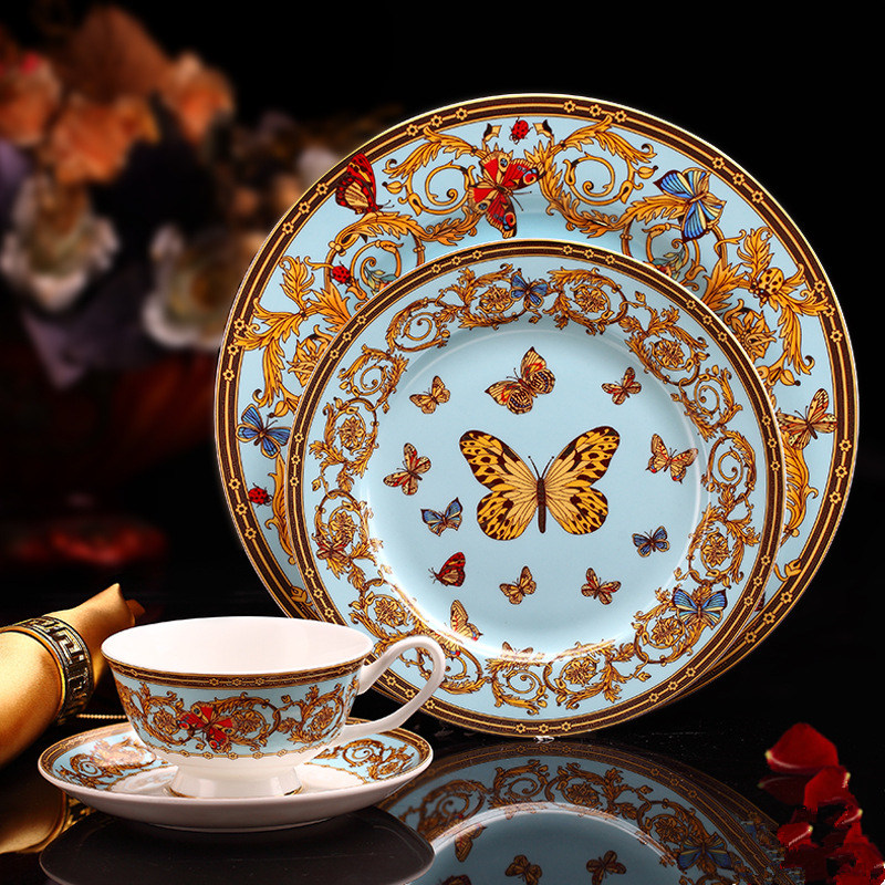 Bone China tableware western food steak restaurant example room inventory heart that occupy the home plate of afternoon tea <font><b>coff</b></font> image