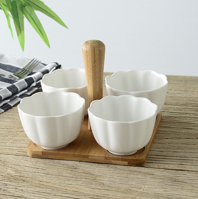Ceramic Pumpkin Serving Bowl Set With Bamboo Stand