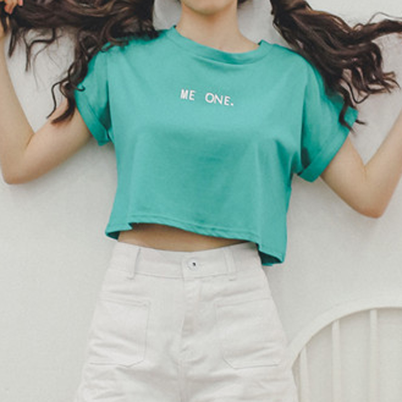 d16a7219ef US $20.4  TANGNEST Letters Women Crop Tops 2017 Green White Summer T shirts  Oversized Women Tees and Tops Cotton Loose Ladies Tops WTS1071-in T-Shirts  ...