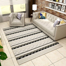 Rectangular Large Carpet Black White Plaid Striped Living Room Modern Geometric Home Ddecoration Mat