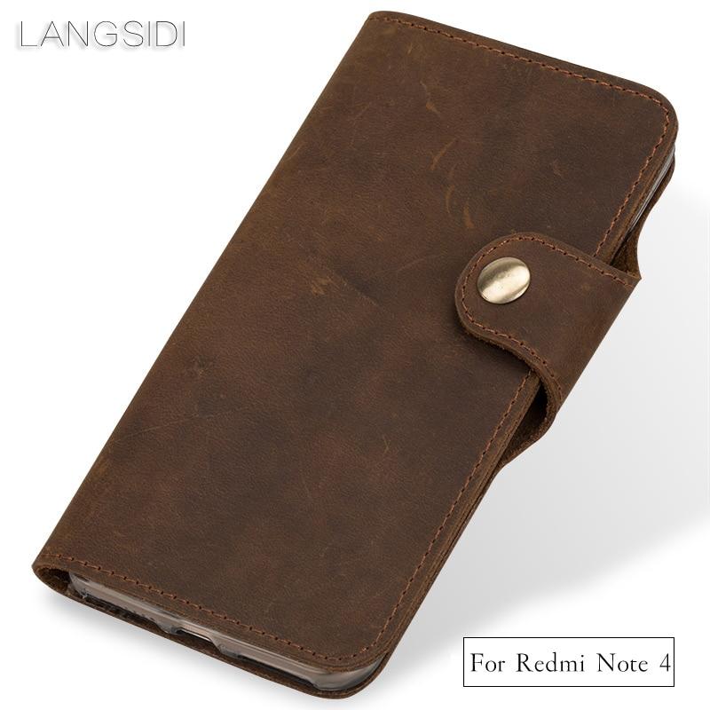LANGSIDI Genuine Leather Phone Case Leather Retro Flip Phone Case For Xiaomi Redmi Note4 Handmade Mobile