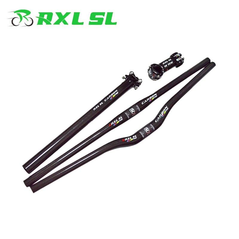 RXL SL Bike Handlebar Carbon Mtb Set 3K Stem+Sest Post+ Flat/Riser Handlebars 31.8mm Mountain Bike One-shaped Handle Bar цена