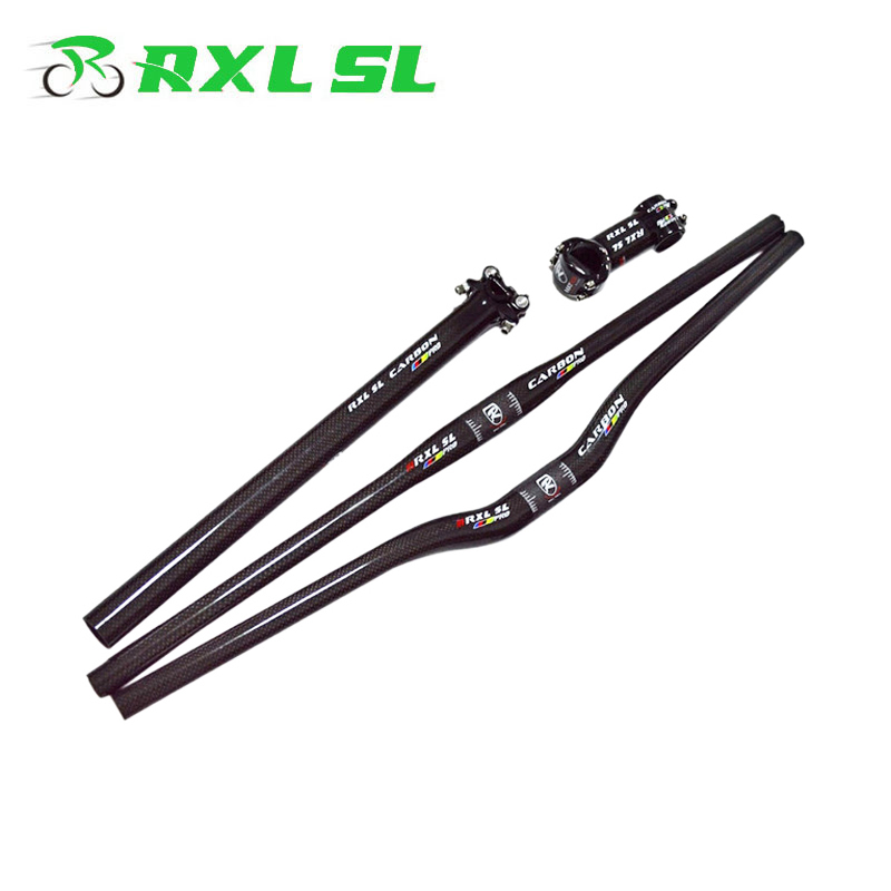 RXL SL Vélo Guidon de Carbone Vtt Ensemble 3 K Souches + Sest Post + Plat/Riser Guidon 31.8mm Vtt Un en forme de Poignée Bar
